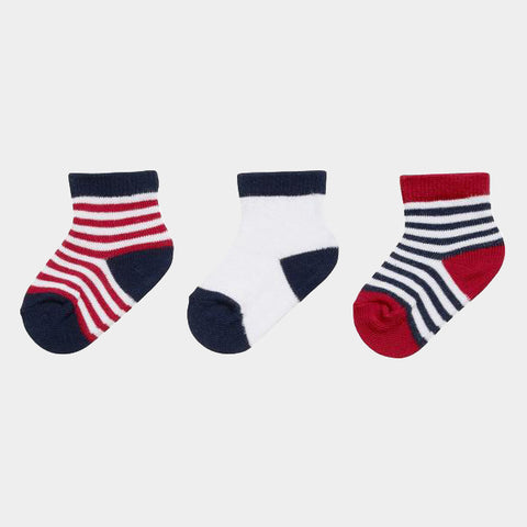 Set 3 Paia Calze Neonato Navy Red | PLAYSHOES | RocketBaby.it