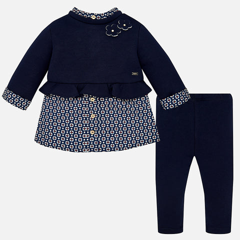 Set Completo Camicetta Maniche Lunghe e Leggings Blu Navy | MAYORAL | RocketBaby.it
