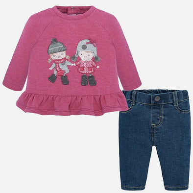 Set Completo Maglietta A Maniche Lunghe e Jeans Lampone | MAYORAL | RocketBaby.it