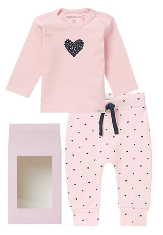 Set Regalo Baby Outfit Basic Rosa Cuore | NOPPIES | RocketBaby.it