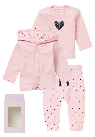 Set Regalo Baby Outfit Basic Con Felpa Rosa | NOPPIES | RocketBaby.it