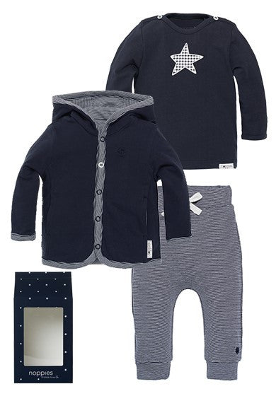 Set Regalo Baby Outfit Basic Con Felpa Blu | NOPPIES | RocketBaby.it