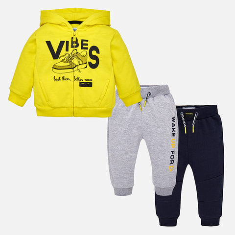 Set Tuta Felpa e 2 Pantaloni Acid Yellow | MAYORAL | RocketBaby.it
