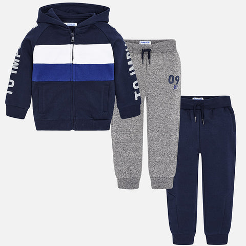 Set Tuta Felpa e 2 Pantaloni Blu Navy | MAYORAL | RocketBaby.it