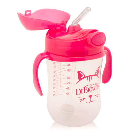 Sippy Cup con Cannuccia Pink 270 ml | DR BROWNS | RocketBaby.it