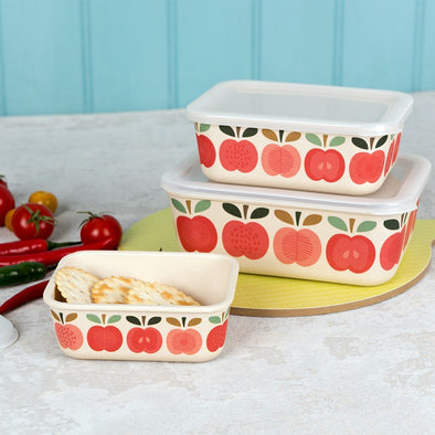 Set 3 Snack Box in Bamboo Vintage Apple | REX LONDON | RocketBaby.it