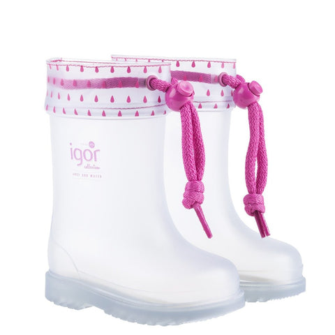 Stivali in Gomma Chufo Cuello Trasparente Fucsia | IGOR SHOES | RocketBaby.it