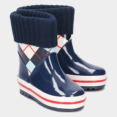 Stivali in Gomma con Coulisse Checkered Lined Navy | PLAYSHOES | RocketBaby.it