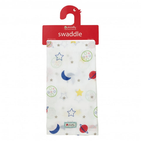 Swaddle in Mussola Stars and Planets | PICCALILLY | RocketBaby.it