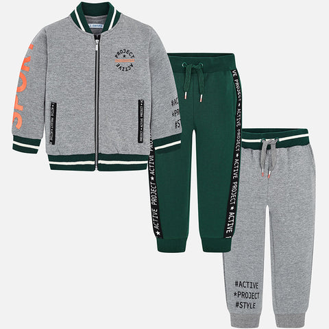 Set Tuta Felpa e 2 Pantaloni Baseball Cenere | MAYORAL | RocketBaby.it