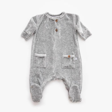 Tuta Con Piedi In Velluto Grey Melange | BAMBOOM | RocketBaby.it