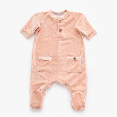 Tuta Con Piedi In Velluto Pink | BAMBOOM | RocketBaby.it