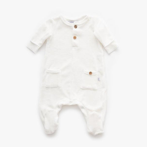 Tuta Con Piedi In Velluto Offwhite | BAMBOOM | RocketBaby.it