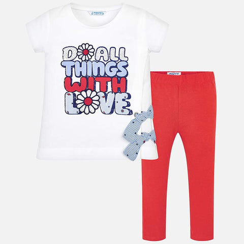 Set Completo Maglia a Maniche Corte e Leggings All Things with Love Kaki | MAYORAL | RocketBaby.it