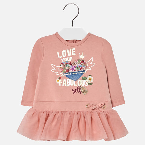 Vestito Felpato con Gonna in Tulle Rosa | MAYORAL | RocketBaby.it