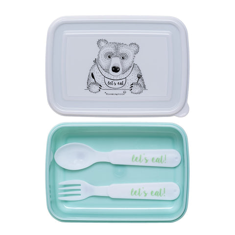 Lunch Box Verde con Posate Orso che Mangia |  | RocketBaby.it