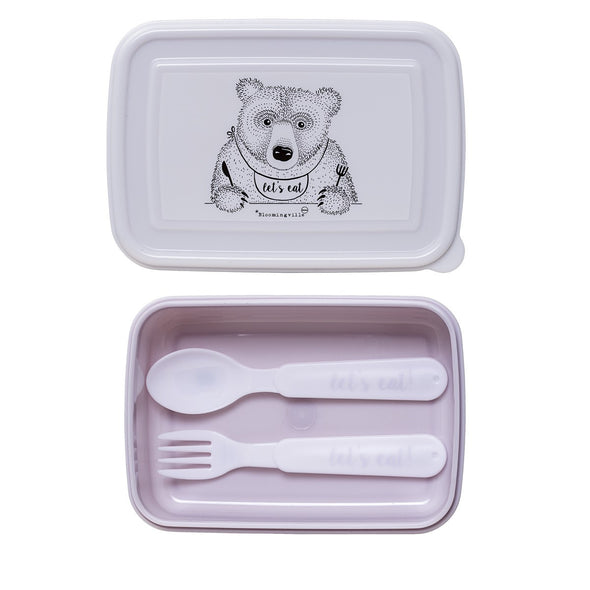 Lunch Box con Posate Rosa Orso che Mangia |  | RocketBaby.it