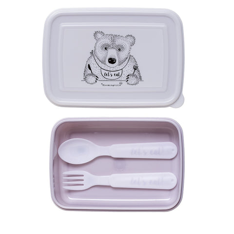 Lunch Box con Posate Rosa Orso che Mangia - BLOOMINGVILLE - RocketBaby.it - RocketBaby