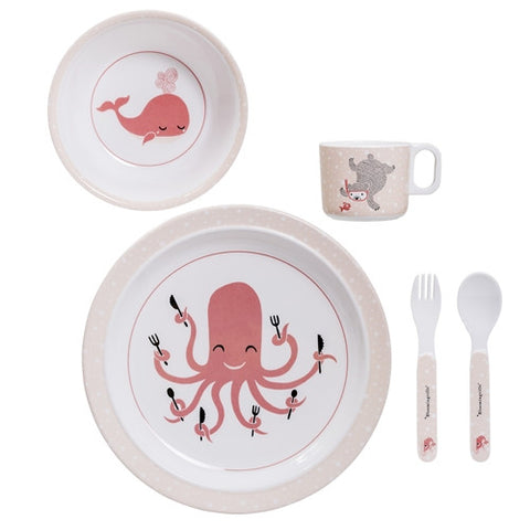 Set Pappa 5 Pezzi Animali del Mare Rosa | BLOOMINGVILLE | RocketBaby.it