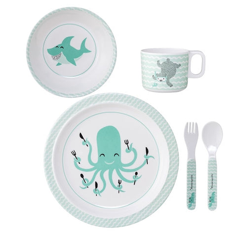 Set Pappa 5 Pezzi Animali del Mare Verde | BLOOMINGVILLE | RocketBaby.it