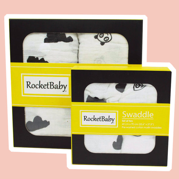 Set 2 Teli Multiuso Swaddle Nuvoletta e Baby Panda | ROCKETBABY | RocketBaby.it