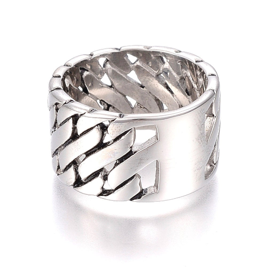 Silver Steel Wide Band Ring