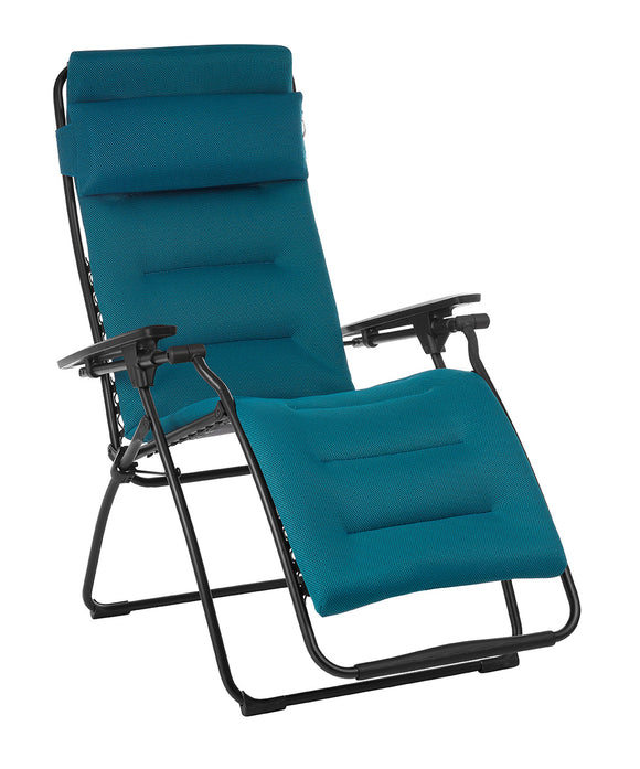 Zero Gravity Recliner - Black Frame - Coral Blue Fabric