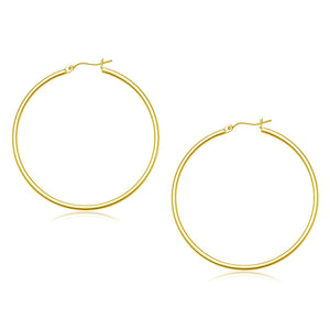 10k Yellow Gold Polished Hoop Earrings (45 mm)