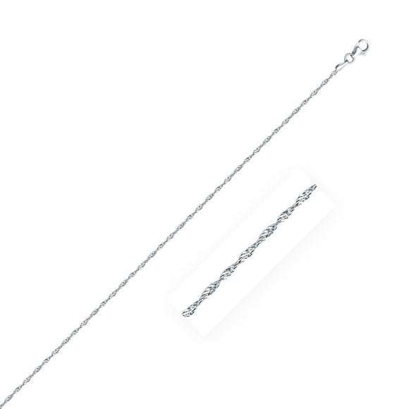 Sterling Silver 1.6mm Singapore Style Chain