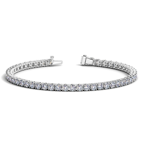 14k White Gold Round Diamond Tennis Bracelet (6 cttw)