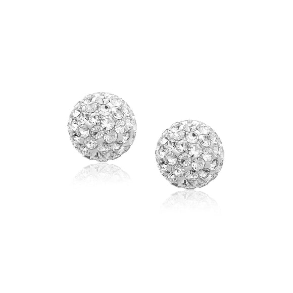 14k Yellow Gold Stud White Crystal Ball Earrings