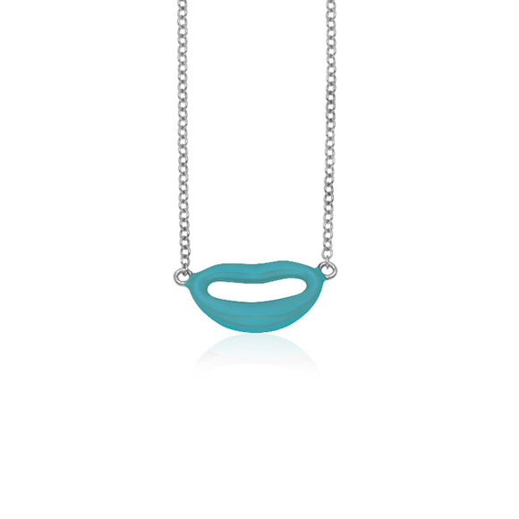 14k White Gold with Enamel Blue Lips Necklace