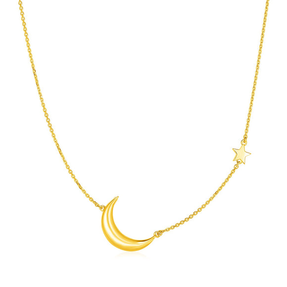 14k Yellow Gold Necklace with Star and Moon
