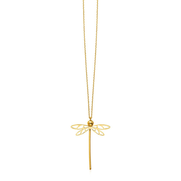 14k Yellow Gold Necklace with Dragonfly Pendant
