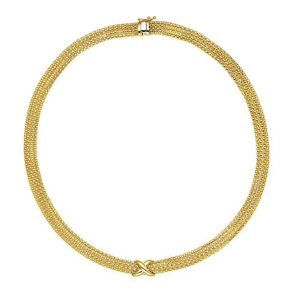 14k Two Tone Gold 18 inch Multi Strand Textured and Polished Necklace