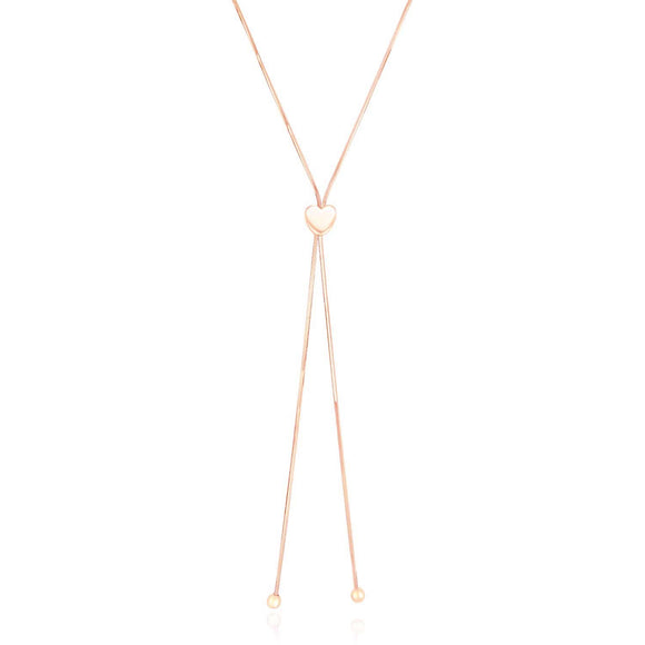 14k Rose Gold Adjustable Heart Style Lariat Necklace