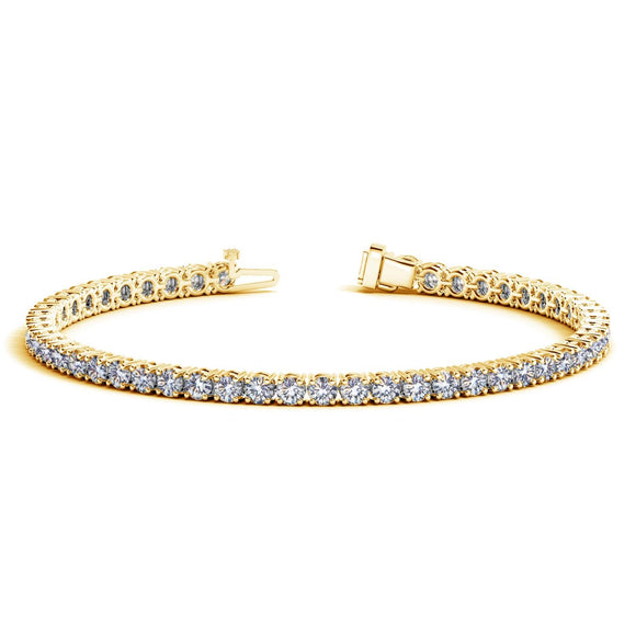 14k Yellow Gold Round Diamond Tennis Bracelet (6 cttw)