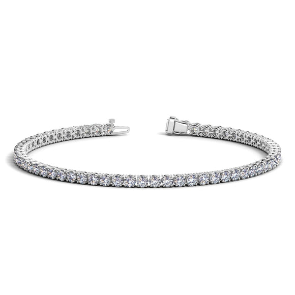 14k White Gold Round Diamond Tennis Bracelet (4 cttw)