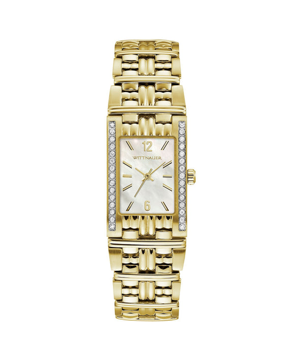 Wittnauer Women's gold stainless steel rectangular mop dial watch