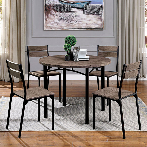 Meade - 5 Pc. Round Dining Table Set - Antique Brown