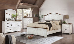 Alyson - Cal.King Bed - Distressed White/Walnut