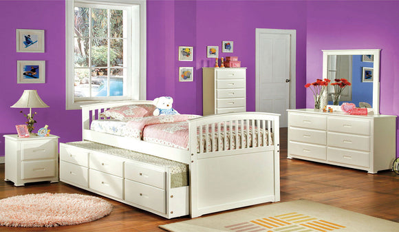 Bella - Captain Full Bed w/ Trundle + 3 Drawers - White