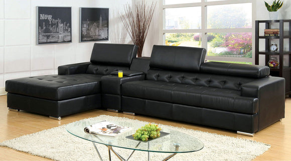 Floria - Sectional + Console Table - Black