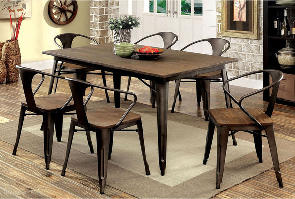 Copper I - 6 Pc. Dining Table Set w/ Bench - Natural Elm, Dark Bronze