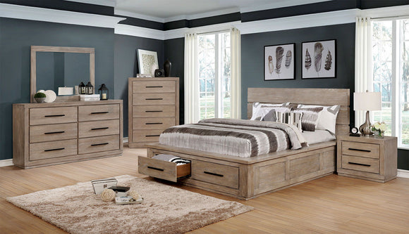 Oakburn - Queen Bed + 2NS + Dresser w/ Jewelry Box + Short Mirror - Weathered Natural Tone
