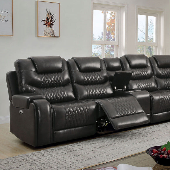 Mariah - Power Sectional + Power Recliner - Gray
