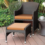Almada - Arm Chair + Ottoman - Brown/Espresso