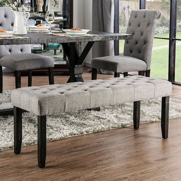 Alfred - Bench - Antique Black/Light Gray