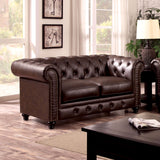Stanford - Love Seat, Brown Leatherette