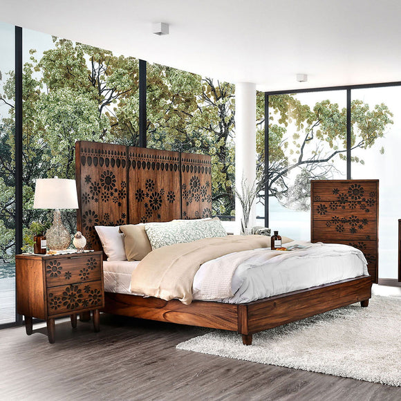 Amarantha - E.King Bed - Dark Oak